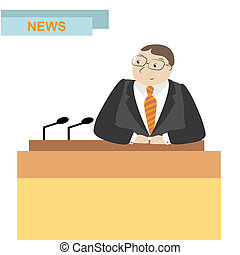 news anchor men headline tv, vector illustration