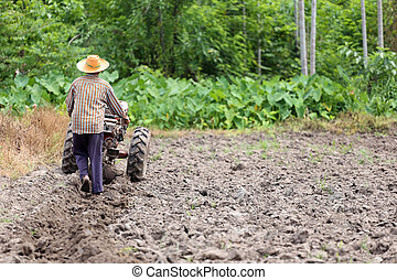Farmers is working control pushcart to recondition soil crop...