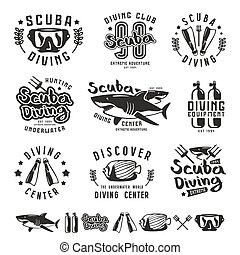 Scuba diving emblems, labels and design elements Black print...