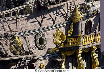 pirate ship in Genoa - pirate ship in the ancient port of...