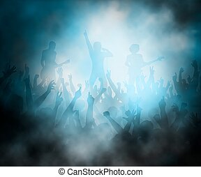 Rock concert - Editable vector illustration of a crowd of...