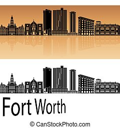 Fort Worth skyline in orange background in editable vector...