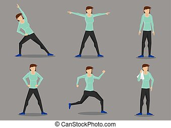 Athletic Woman in Tracksuit Exercising Vector Character Set...