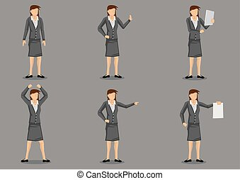 Woman Business Executive Vector Character Set - Set of six...