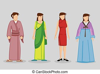 Asian Woman Fashion Traditional Costumes Vector Illustration...
