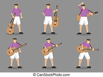 Guitarist and Acoustic Guitar Vector Character Illustration...