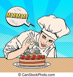 Attractive Female Chef Decorating Delicious Cake with...