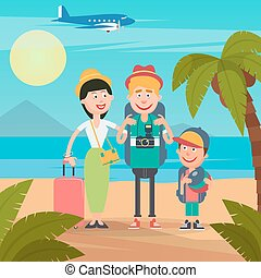Happy Family on Travel by Airplane. Young Family on the...