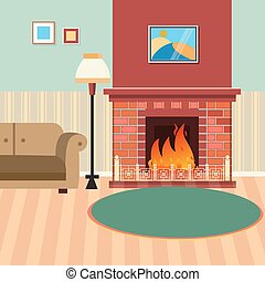 Luxury Living Room Interior with Fireplace and Couch. Vector illustration