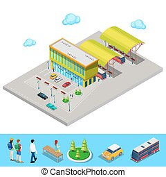 Isometric City Bus Station with Buses, Parking Area and People. Vector illustration