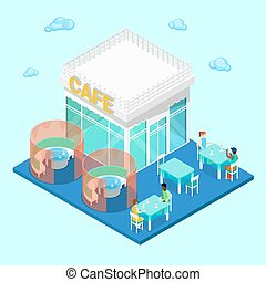 Isometric City. City Cafe with Tables and People. Vector illustration