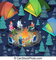 Isometric People Sitting Near Camping Bonfire in Forest. Vector illustration