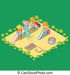 Isometric Children Playground with Sweengs, Carousel, Slide...