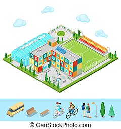 Isometric City. School Building with Swimming Pool and Football Ground. Vector illustration