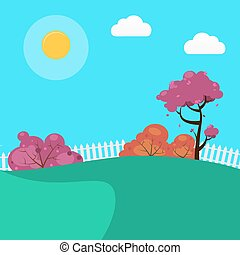 Countryside Landscape Background with Sunny Sky and Trees. Vector illustration