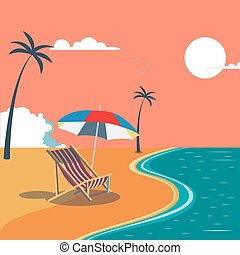 Summer Tropical Beach with Palm Trees and Umbrella. Vector Background