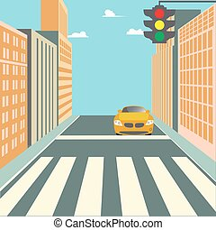City Street with Buildings, Traffic Light, Crosswalk and...