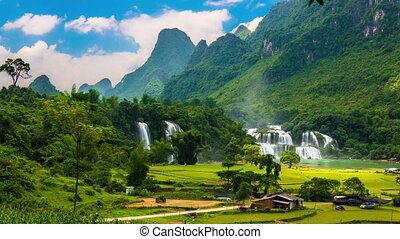 Waterfall in Vietnam - Ban Gioc Waterfall in green valley...
