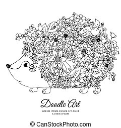 Vector illustration zentangl hedgehog with flowers. Doodle...