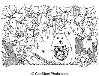 Vector illustration Zen Tangle , hamster and peas. Doodle...