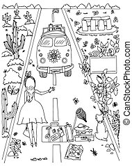 Vector illustration Zen Tangle, girl and dog travel. Doodle...