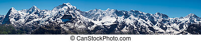 The Jungfrau, Monch, Eiger, panorama view from the top of...