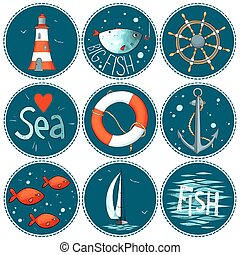 Sea set of 9 nautical elements in a circle shape - Vector...