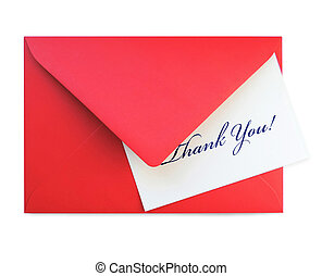 Red letter and thank you card, isolated on White
