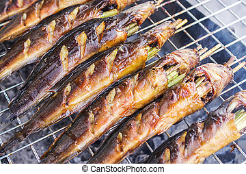 catfish grill - grilled walking catfish on stove