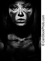 Human with black soul - Spooky portrait of the woman Demon...