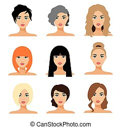 Set of woman hair styling vector flat Illustration