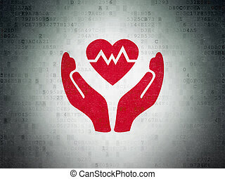 Insurance concept: Heart And Palm on Digital Data Paper...
