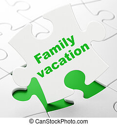 Travel concept: Family Vacation on puzzle background -...