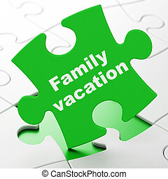 Tourism concept: Family Vacation on puzzle background -...