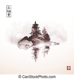 Island with three pine trees in fog