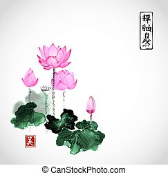 Lotus flowers hand drawn with ink isolated on white...