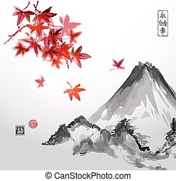 Red japanese maple trees and Fujiyama mountain. Traditional...