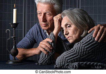 sad Senior couple portrait - Portrait of a sad senior couple...