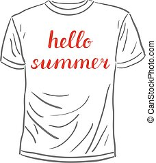 Hello summer lettering. Brush hand lettering on a sample...