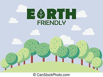 Earth friendly poster. ecology concept vector illustration