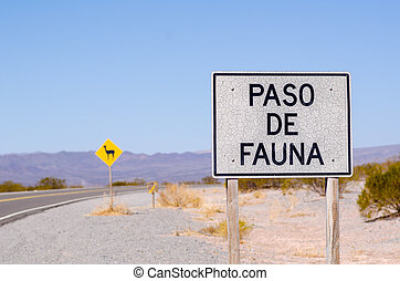 Wildlife crossing - Roadsign in the Argentinian Andes...