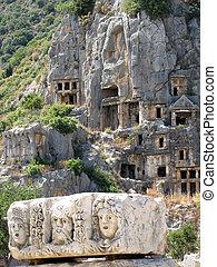 Lycian, tumbas, Demre, pavo