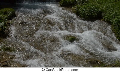 Cascades of Fast Mountain Stream - Close up of fast mountain...