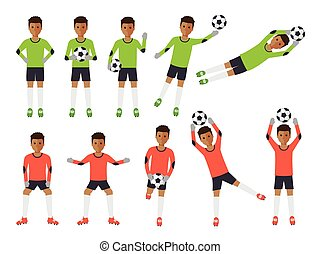 Soccer players, football goalkeeper in actions