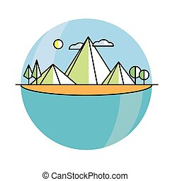 Line illustration island in color. Vector linear