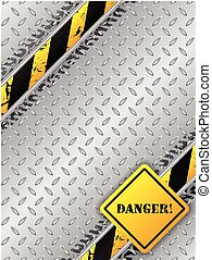Abstract industrial brochure with tire tracks metallic plate