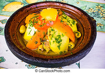 Tagine - typical moroccan dish - Tagine - typical ethnic...