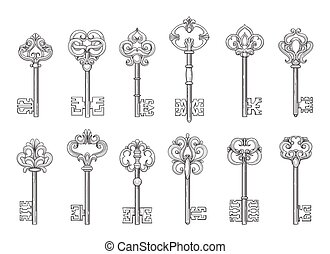 Vintage keys line vector icons - Vintage keys or victorian...