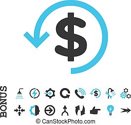 Refund Flat Vector Icon With Bonus - Refund vector bicolor...