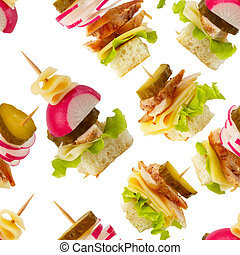 Canape seamless wallpaper background - Canape snacks macro...